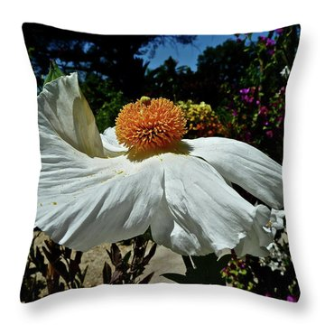 Matilija Poppy Two Throw Pillow