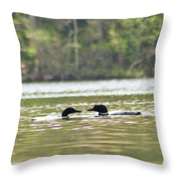 Throw Pillow featuring the photograph Mating Loons by Daniel Hebard