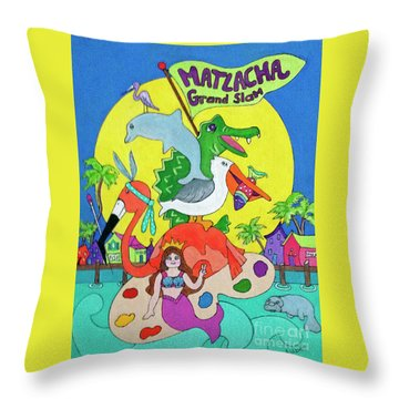 Throw Pillow featuring the painting Matlacha Grand Slam by Rosemary Aubut