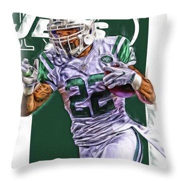 Matt Forte New York Jets Oil Art Throw Pillow