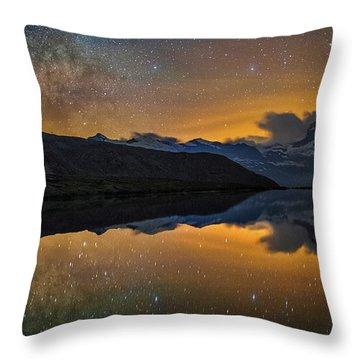 Matterhorn Milky Way Reflection Throw Pillow