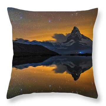 Matterhorn Milky Way Reflection Throw Pillow