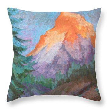 Throw Pillow featuring the painting Matterhorn Sunrise by Diane McClary