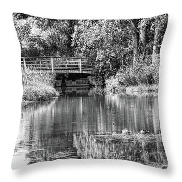 Matthaei Botanical Gardens Black And White Throw Pillow by Pat Cook