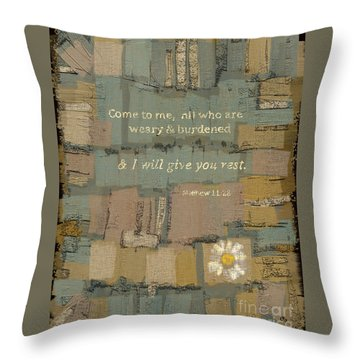 Throw Pillow featuring the painting Matthew Bible Verse by Carrie Joy Byrnes
