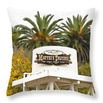 Throw Pillow featuring the photograph Matties Tavern Los Olivos California by Floyd Snyder