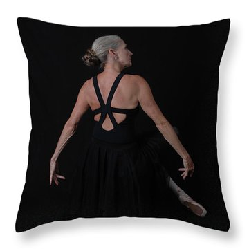 Throw Pillow featuring the photograph Mature Ballerina Elegance by Nancy Taylor