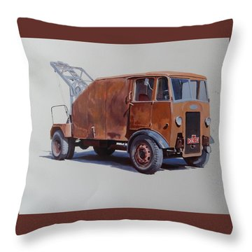 Throw Pillow featuring the painting Maudslay Wrecker. by Mike  Jeffries