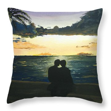 Maui Beach Sunset Throw Pillow by Norm Starks