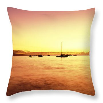 Maui Boat Harbor Silhouette Throw Pillow by Carl Shaneff - Printscapes