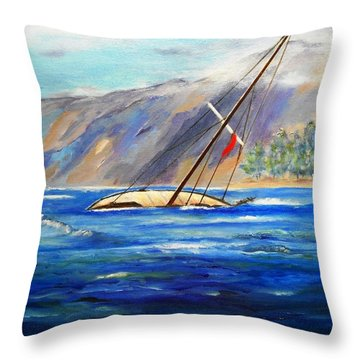 Maui Boat Throw Pillow by Jamie Frier