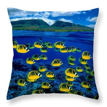 Maui Butterflyfish Throw Pillow
