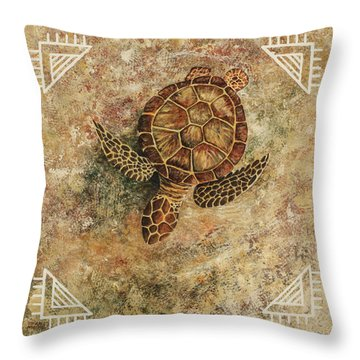 Throw Pillow featuring the painting Maui Honu by Darice Machel McGuire