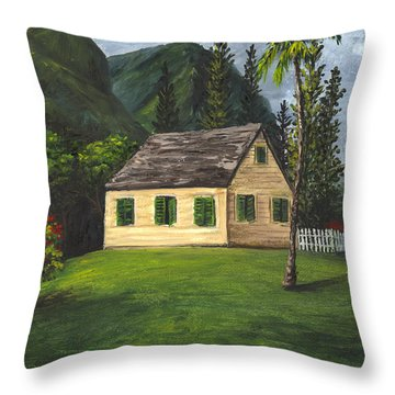 Throw Pillow featuring the painting Maui Nature Center by Darice Machel McGuire