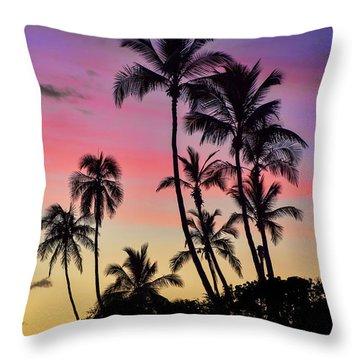 Maui Palm Tree Silhouettes Throw Pillow