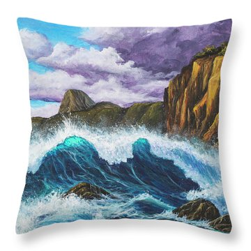 Throw Pillow featuring the painting Maui Rugged Coast  by Darice Machel McGuire