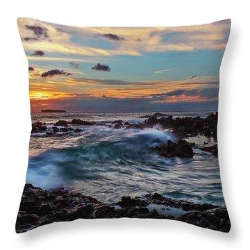 Maui Sunset At Secret Beach Throw Pillow