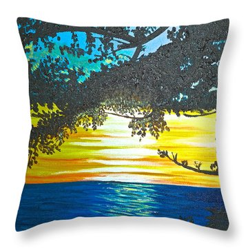 Maui Sunset Throw Pillow by Donna Blossom