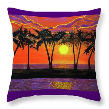Maui Sunset Palm Trees Throw Pillow