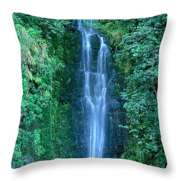 Maui Waterfall Throw Pillow by Bill Brennan - Printscapes