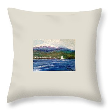 Mauna Kea At Hilo Bay Throw Pillow