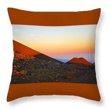Mauna Kea Sunset With Full Moon Volcanoes National Park Hawaii Throw Pillow