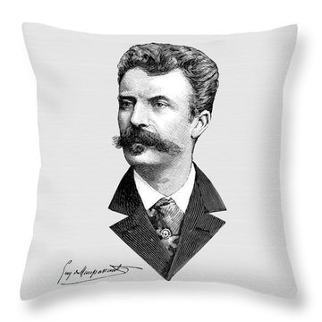 Maupassant Throw Pillow by Asok Mukhopadhyay