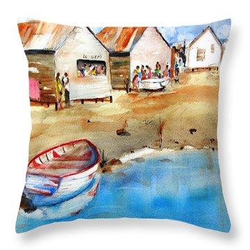 Mauricio's Village - Beach Huts Throw Pillow