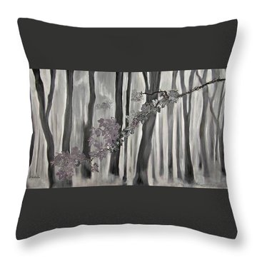 Mauve Leaves Throw Pillow