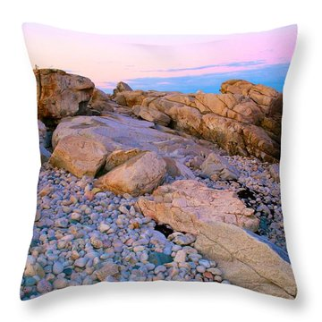 Mauve Light On Schoodic Penninsula Throw Pillow