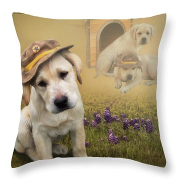 Maverick And Tori - Labrador Art Throw Pillow