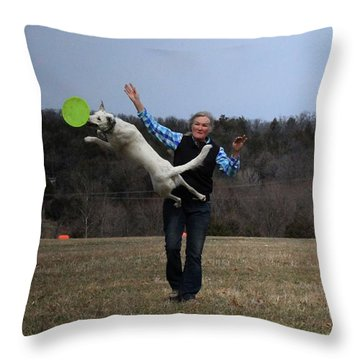 Max Bounce Throw Pillow by Patricia Olson