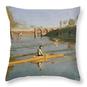 Max Schmitt In A Single Scull Throw Pillow by Thomas Cowperthwait Eakins