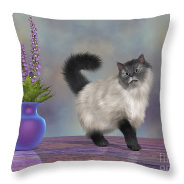 Max The House Cat Throw Pillow by Corey Ford