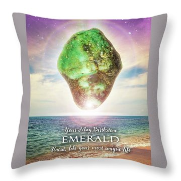 May Birthstone Emerald Throw Pillow