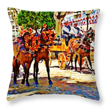 May Day Fair In Sevilla, Spain Throw Pillow