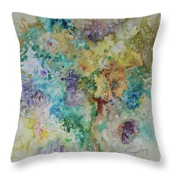 Throw Pillow featuring the painting May Flowers by Joanne Smoley