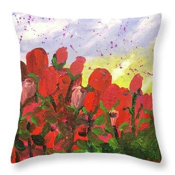 May Roses Throw Pillow