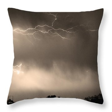 May Showers 2 In Sepia - Lightning Thunderstorm 5-10-2011   Throw Pillow by James BO  Insogna