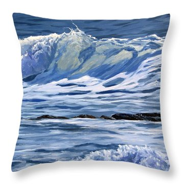 Throw Pillow featuring the painting May Wave by Lawrence Dyer