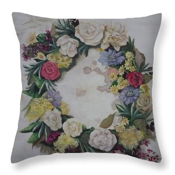 May Wreath Throw Pillow