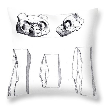 Maya Cat Head And Stone Tools Throw Pillow