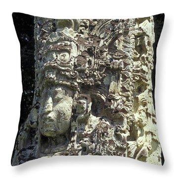 Throw Pillow featuring the photograph Maya Stela Copan Honduras by John  Mitchell