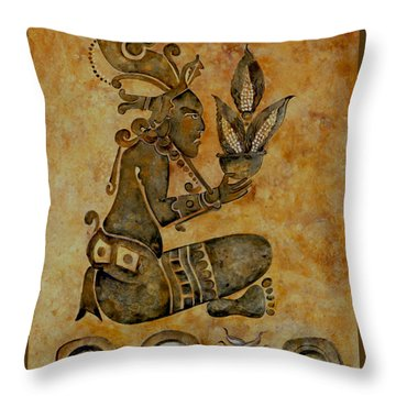 Mayan Corn God Throw Pillow