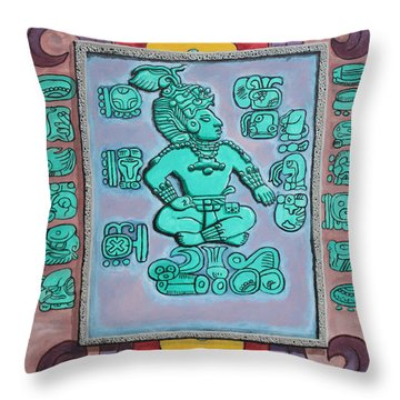 Throw Pillow featuring the painting Mayan Prince by Antonio Romero