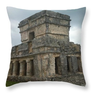 Mayan Stone Homes  Throw Pillow