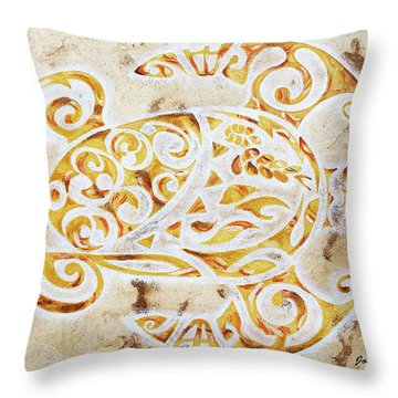 Throw Pillow featuring the painting Mayan Turtle by J- J- Espinoza