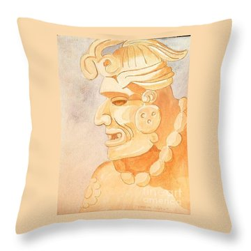 Mayan Warrior Throw Pillow by Fred Jinkins
