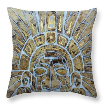 Throw Pillow featuring the painting Mayan Warrior by J- J- Espinoza