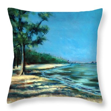 Throw Pillow featuring the painting Maybe A Picnic by Suzanne McKee